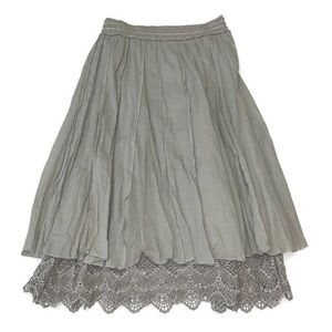 Anthro Lapis layered boho cotton and lace skirt